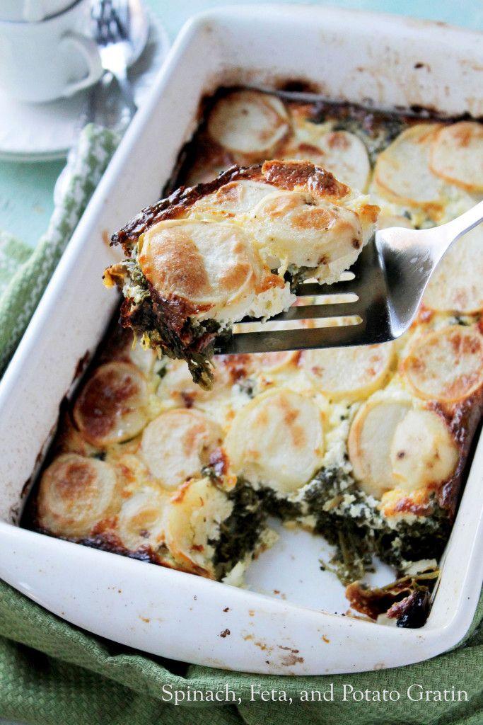 Spinach, Feta, and Potato Gratin | www.diethood.com | #gratinrecipe #dinner #recipe #vegetarian #bake