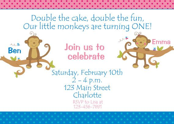 Monkey Birthday Party Invitation  twins  by TheButterflyPress, $10.00