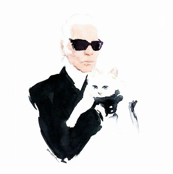 Karl Lagerfeld  watercolor on paper Canson  Sylvia Baldeva®