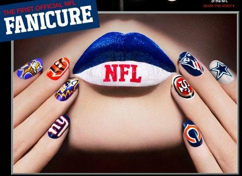 fanicure, covergirl, football nail art