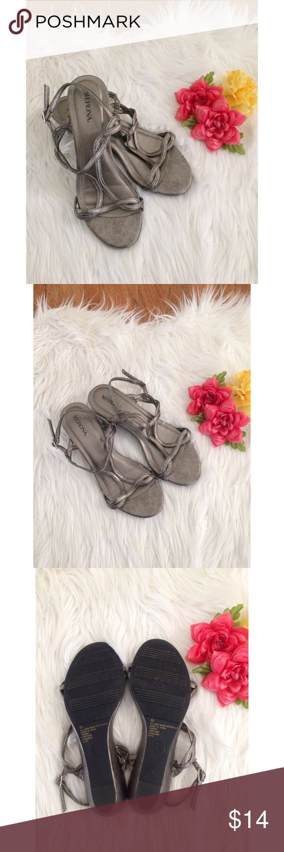 Metallic Silver Strappy Sandals 🌸 Super cute pair of sandals by Merona! Metallic silver color with woven strappy details. Super comfy and go great with everything! Worn just once so they're in like new condition! True size 5.5 :) Shoes Sandals