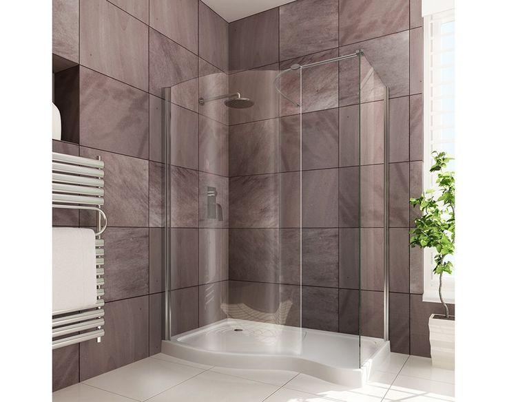 Curved Walk-In Shower Enclosure 1400 x 900mm | Walk-in Shower Enclosures | Splashdirect £344