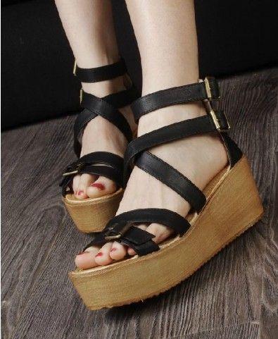 Black Leather Look Gladiator Flatform Sandals