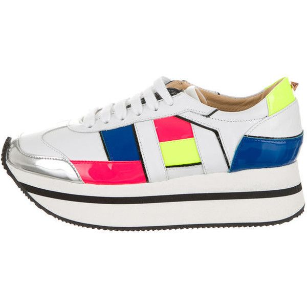 Pre-owned Ruthie Davis Sneakers (£200) ❤ liked on Polyvore featuring shoes, sneakers, white, colorful sneakers, multi color sneakers, ruthie davis shoes, ruthie davis sneakers and platform trainers