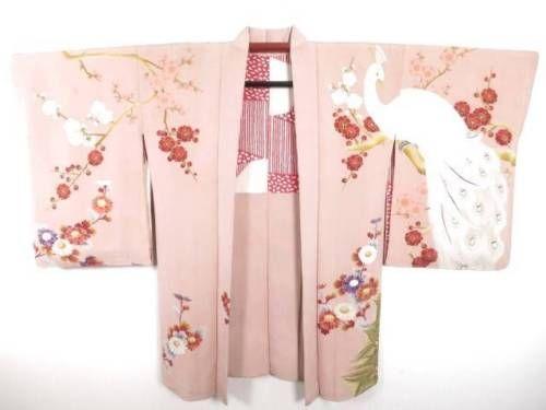 07v5764-Vintage-Japanese-Kimono-Haori-Jacket-Amazing-Peacock-Plum-Blossom-Silk