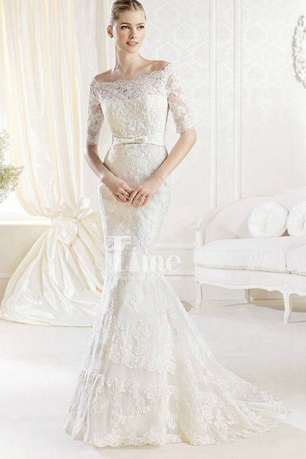 Off the shoulder Neck Half sleeves Appliques Belt Mermaid Wedding Dresses with Buttons WD149922