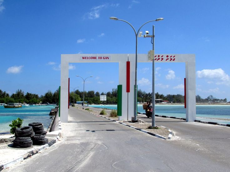 A causeway connects Gan Island to the rest of Addu Atoll in the Maldives. Gan hosted a major British air base from 1956 to 1976 and numerous facilities remain from this time.