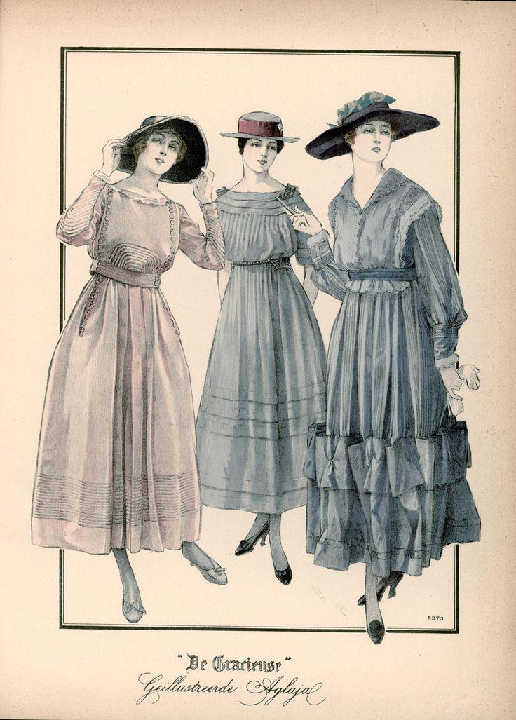 [De Gracieuse] No. 1. Buitentoilet van fijne waschstof. No. 2. Eenvoudige japon van voile met oprijgen versierd. No. 3. Namiddagjapon van taffet en zijden voile (August 1916)