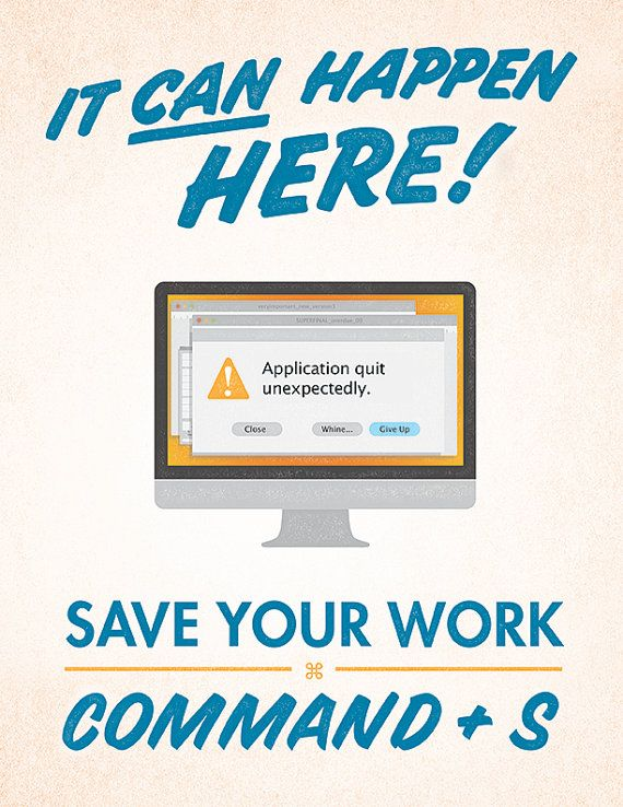 Save Your Work Graphic Design Poster | Apple Mac | Keyboard Shortcut | gift