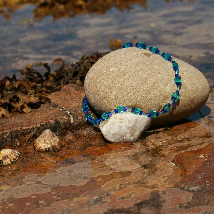 I absolutely love this necklace. It was made with turquoise and blue square beads within turquoise cylinder beads. Taken at Portskerra. Photo by Pamela Taylor Photography. Rosering Creations x