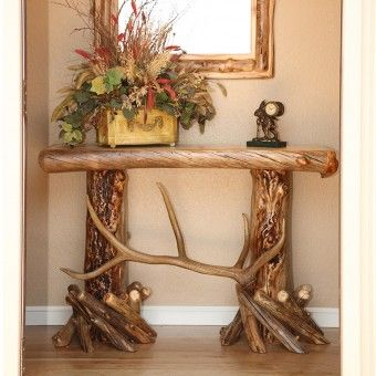 Aspen and Elk Antler Sofa Table is unique as well as rustic.  Perfect for displaying in your entry way or in your living room.  #rusticfurniture | western decor | Antler  Hunting Decor