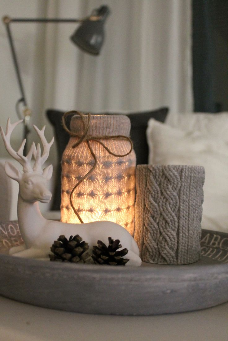 Diy candle holder, grey, wool, livingroom, mood, winter