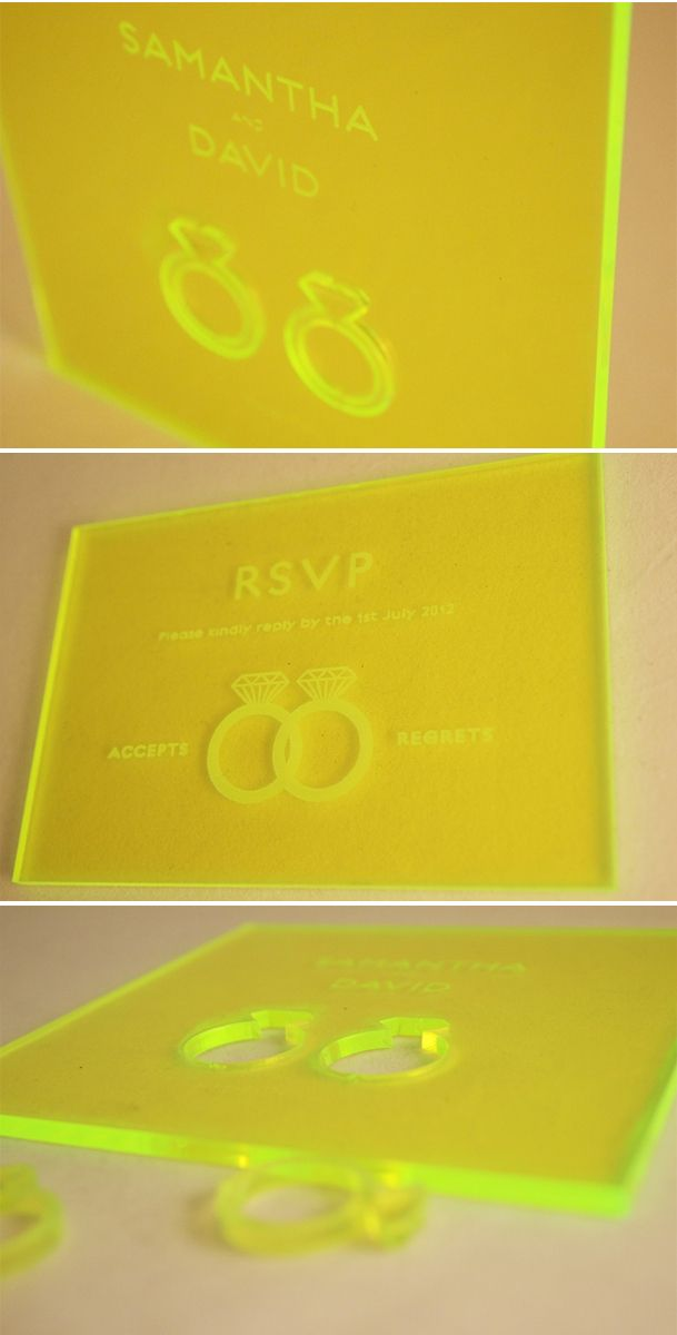 laser cut acrylic wedding invitations