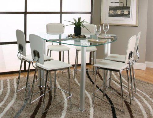 Sirius 7pc Glass Counter Height Dining Set Cream Chrome 54D