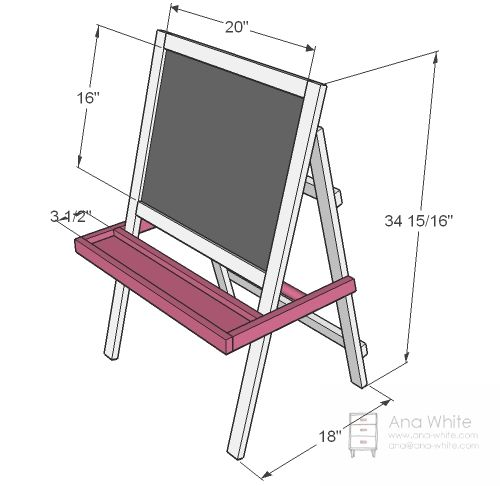 Ana White | Build a Toddler Chalkboard Easel | Free and Easy DIY Project and Furniture Plans