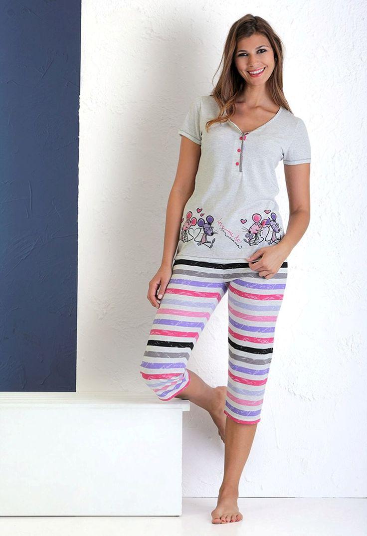 """Pijama juvenil con dibujo frontal """"ratoncitos amorosos""""Pantalón pirata #women #homewear"""