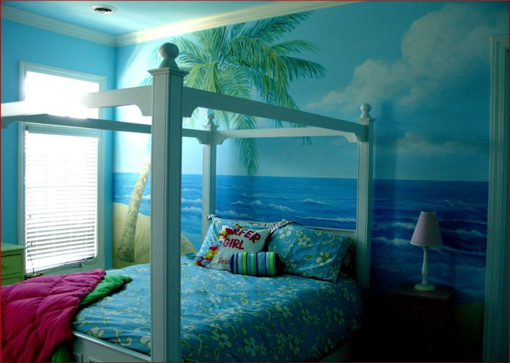 Kids Bedroom, Awesome Wall Mural Beach With Coconut Tree View Wall Decor Design For Kids Bedroom With Furniture Single Bed Bedside Table Desk Lamp Red Bedding Pillow Window Ceiling: Bedroom design ideas for your kids