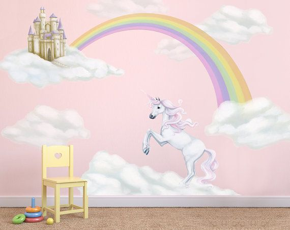 Unicorn Decals rainbow decal Unicorn Wall by InspireMurals on Etsy