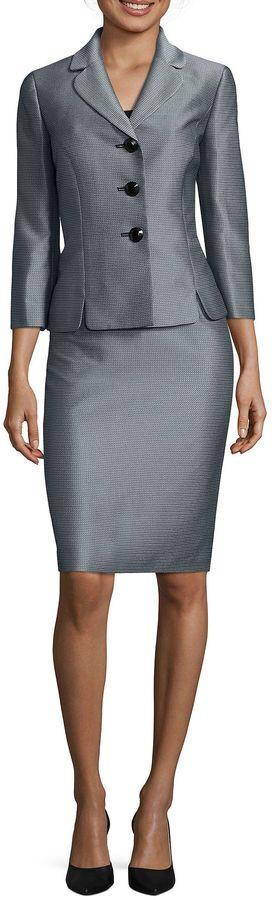 LE SUIT Le Suit 3/4-Sleeve Mini Herringbone 3-Button Jacket Skirt Suit