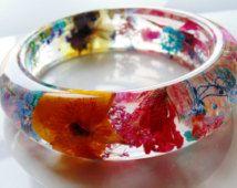 Bloem hars Bangle, Eco vriendelijke hars armband, ingedrukt Flower Jewelry Flower Jewelry, Rainbow bloem Bangle