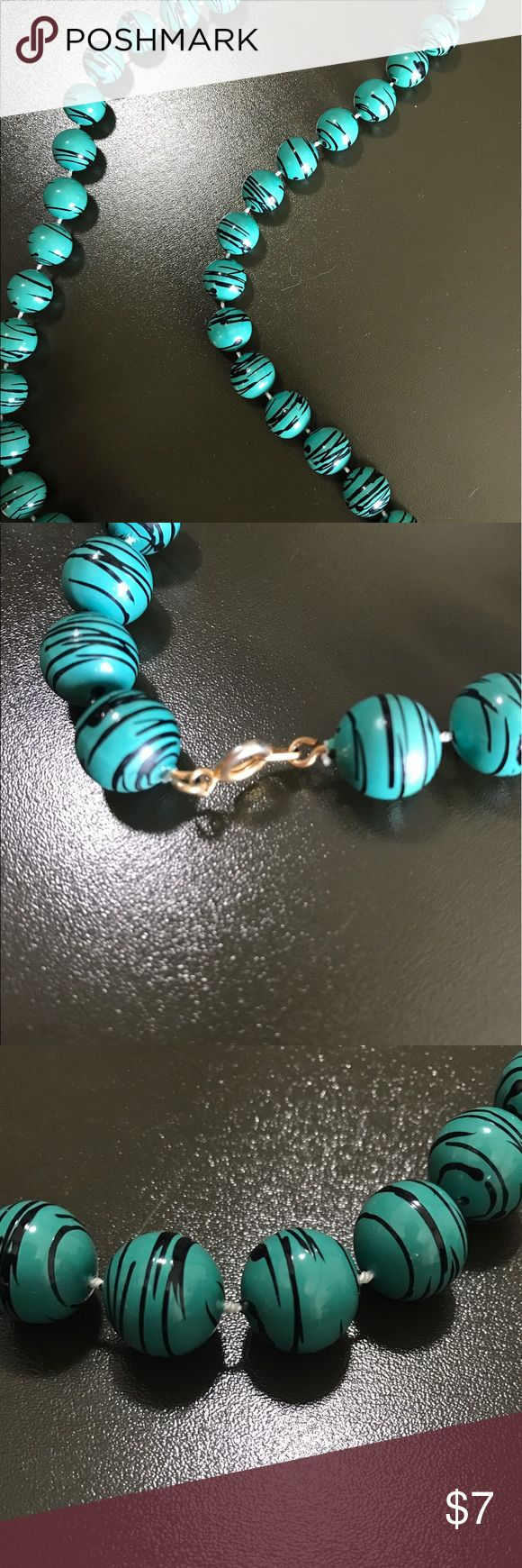 LIKE NEW black and teal necklace Worn once or twice! Black and teal medium length necklace Jewelry Necklaces