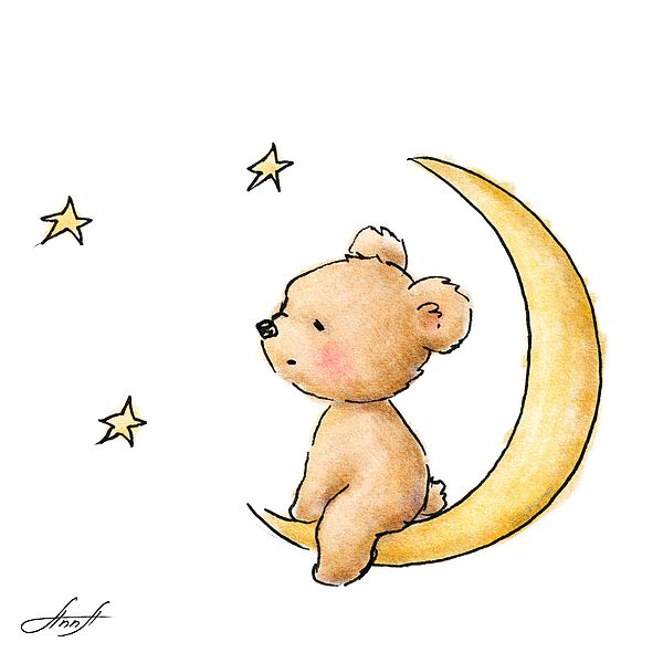 Картинка с мишкой на луне