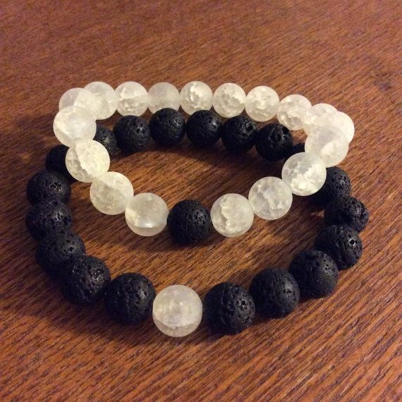 Matching Couples Bracelets Yin Yang black and by GypsyAquarius