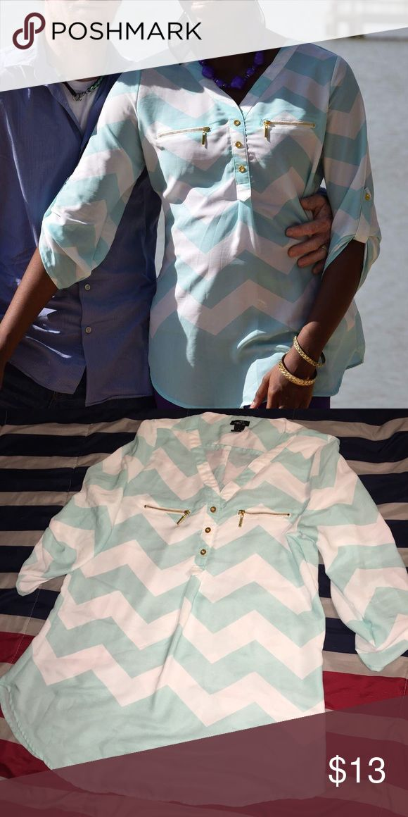 Cute rue 21 top Turquoise and white chevron top with gold buttons and zippers. Worn once for engagement photos. 3/4 sleeve Rue 21 Tops Blouses
