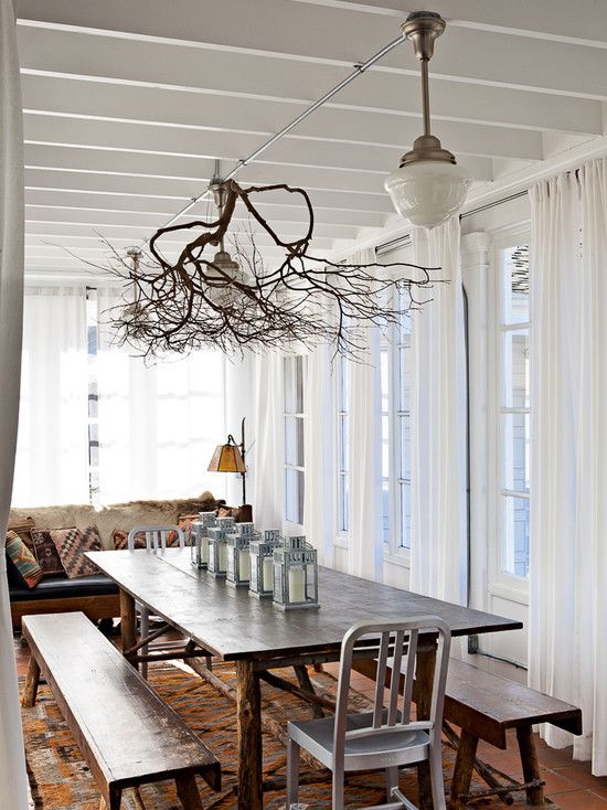 Decorating, Attractive Contemporary Dining Room With Natural Wooden Dining Table And Bench Also Lovely Branch Chandelier Design Also Classic Pendant Lamps Also Comely White Curtains Also Antique Couch Design: Light Up the Room with Beautiful Branch Chandelier!