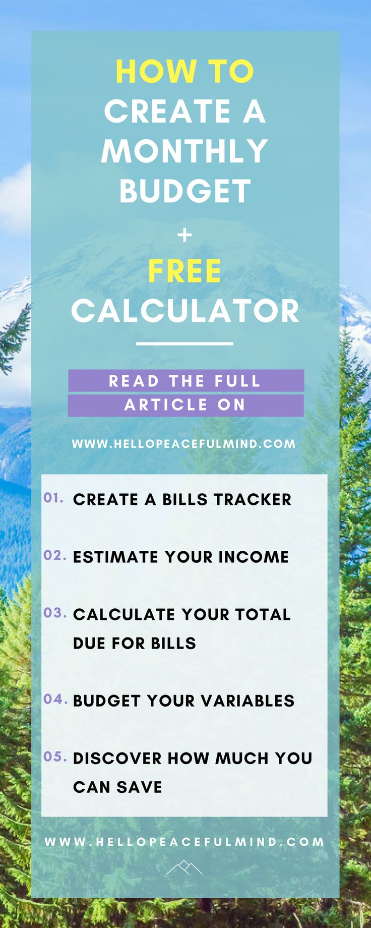 Download your FREE monthly budget calculator to easily plan your finances and find out how much you can save every month. Head over to www.HelloPeacefulMind.com to download it!