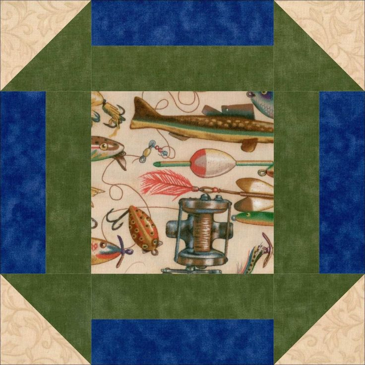 "Fishing Tackle Fish 12 Pre-Cut Quilt Kit 9"" Blocks"