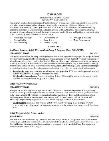 Retail Merchandiser Resume Sample Resume Pinterest Resume