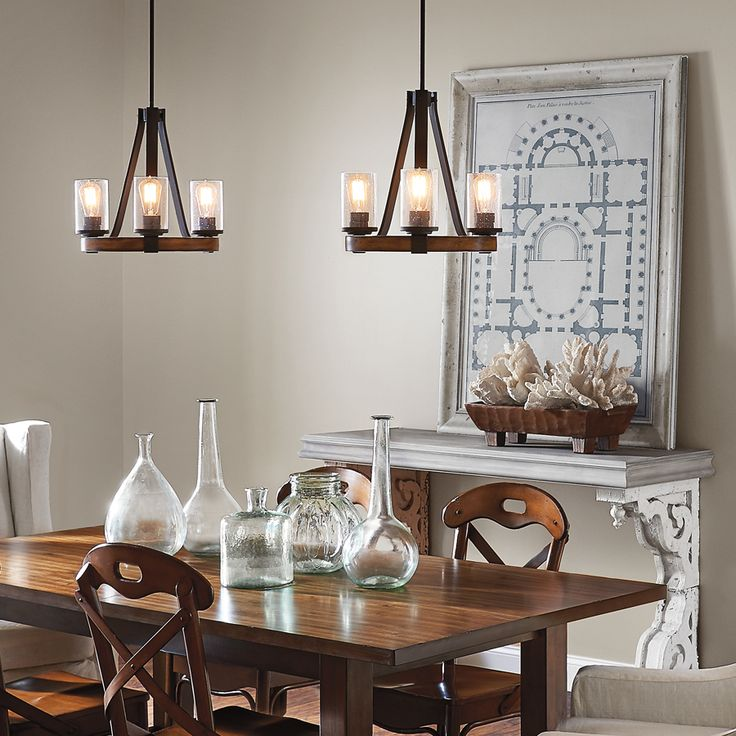 Shop kichler lighting barrington 3 light distressed black and wood chandelier at - Kichler dining room lighting ideas ...