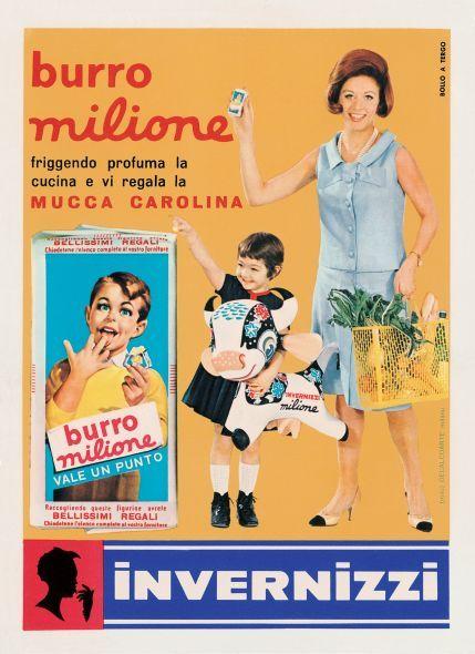 La pubblicità del burro Milione della Invernizzi in un'immagine degli anni '60  Di Decalcoarte
