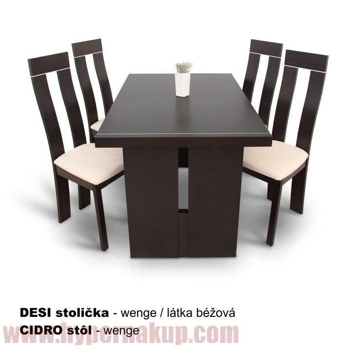 Jedálenský stôl, wenge, CIDRO + stoličky Desi