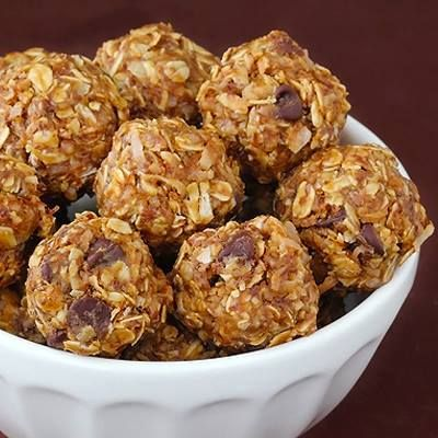 NO-BAKE ENERGY BITES High Protein INGREDIENTS 1 cup (dry) oatmeal (I used old-fashioned oats) 2/3 cup toasted coconut flakes 1/2 cup peanut butter 1/2 cup ground flaxseed or wheat germ 1/2 cup chocolate chips (optional) 1/3 cup honey 1 tsp. vanilla METHOD Stir all ingredients together in a mediumbowl until thoroughly mixed. Let chill inthe refrigerator for half an hour. Once chilled, roll into balls of whatever size you would like. (Mine were about 1″ in diameter.) Store in an airtight…