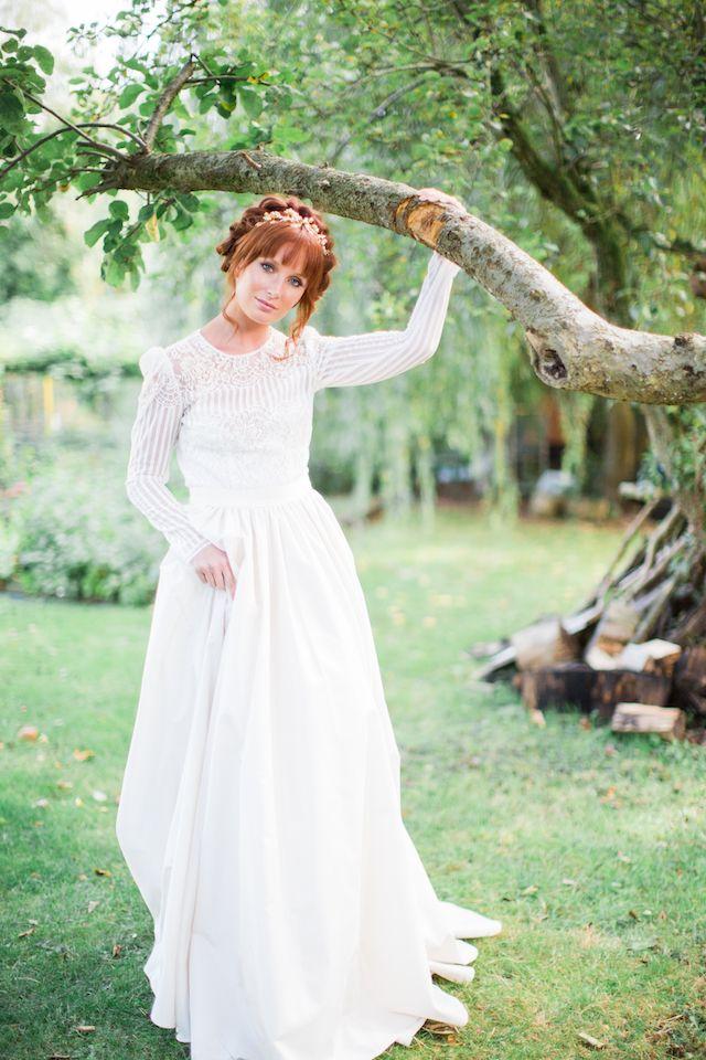 Long sleeve wedding dress | Cecelina Photography