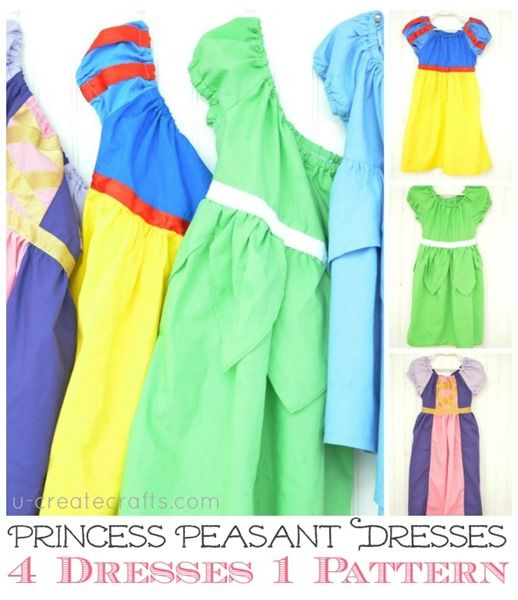 Love these -- 4 Princess Dresses - One Pattern! U-createcrafts.com
