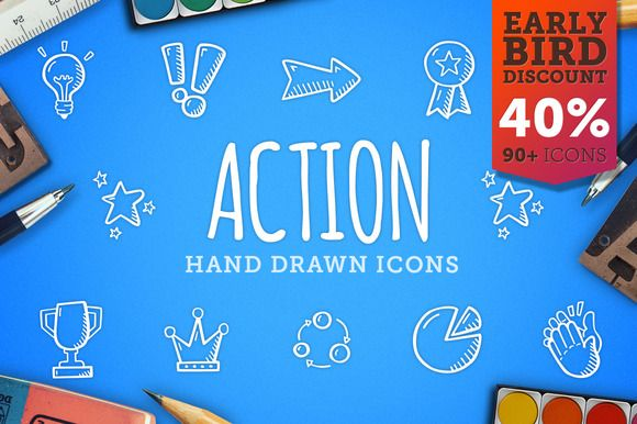 Action Hand Drawn Icons by Good Stuff, No Nonsense on Creative Market