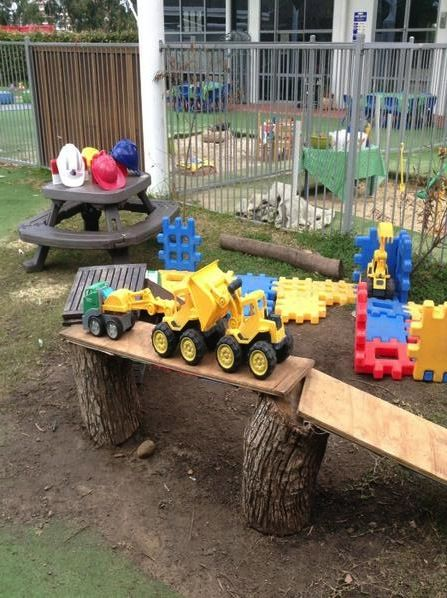 """Resourceful use of recycled timbers creates an innovative building site play area for children at Oac Rhodes - image shared by Only About Children (@OacChildcare on Twitter) ("""",)"""