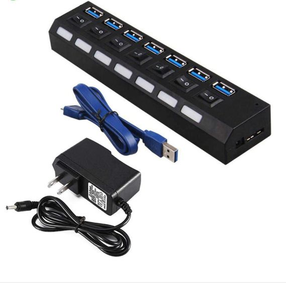 7 Port USB 3.0 Multi Charger Hub High Speed Adapter ON//OFF Switch For Laptop//PC