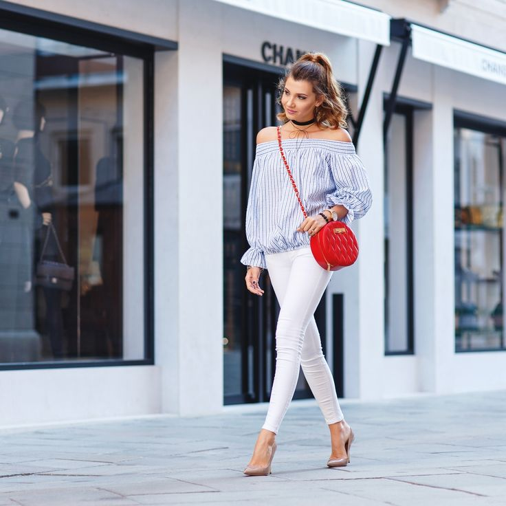 Off the shoulder blue top, nude heels, white denim and a round red bag today on my blog: http://themysteriousgirl.ro/2016/08/blue-striped-perfection/