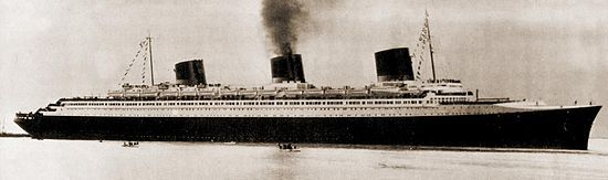 Profile shot of the SS Normandie