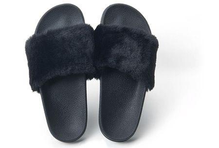 Fluffy slippers   Heerlijk comfortabele slippers met (imitatie) bont