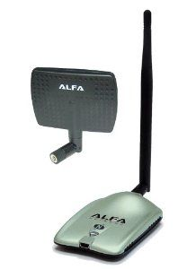Alfa AWUS036NH 2000mW 2W 802.11g/n High Gain USB Wireless G / N Long-Range WiFi Network Adapter with 5dBi Screw-On Swivel Rubber Antenna and 7dBi Panel Antenna