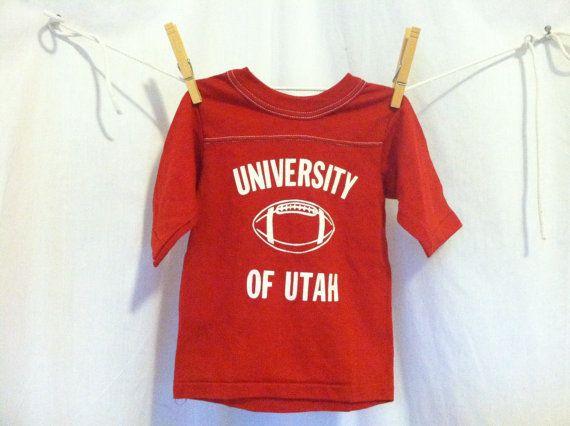 Vintage 70s KIDS UTAH University Tshirt/  Unworn Chalk Line Original College Football Childs Jersey T-shirt/  UTES Athletic Boys Tee