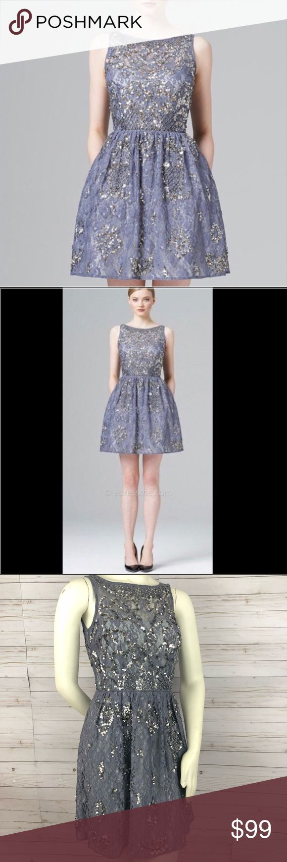 Aidan Mattox sequin formal party dress Aidan Mattox a-line sequin formal party dress.  Lavender/purple/silver Lace overlay with intricate sequin design  Sleeveless High neck Hidden back zipper Bust semi-padded with thin cups  Great for prom or any formal/fancy event Aidan Mattox Dresses