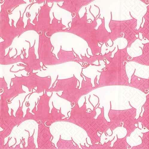 pink bbq napkins ? CASPARI Oink Pink Paper Cocktail Napkins - 2 Packages