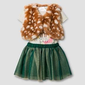 Baby Girls' Vest, Fawn Bodysuit and Tutu Skirt Baby Cat & Jack™ - Grey/Tan : Target