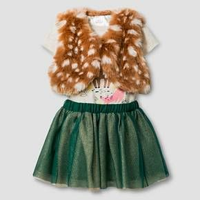 Baby Girls' Vest, Fawn Bodysuit and Tutu Skirt Baby Cat & Jack™ - Grey/Tan : Target